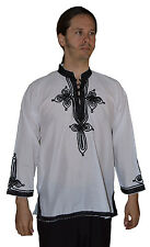Moroccan Handmade Men Cotton Tunic Shirt Unisex Caftan Casual Breathable Medium