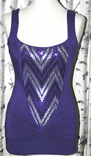 JANE NORMAN (UK8 / EU36) PURPLE SLEEVELESS SEQUIN FRONT STRETCH TOP