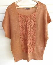Katies Women's Orange & Silver Sparkle Knit Top with Lace - Size M
