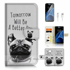 Samsung Galaxy S7 Flip Wallet Case Cover P1616 Better Day Dog