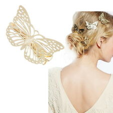 1PC Womens Shiny Golden Butterfly Hair Clip Right Hair Accessories