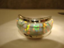 BRILLIANT WHITE FIRE OPAL Wide Band Ring! Men 11 Man Sterling SIlver 925 Wave