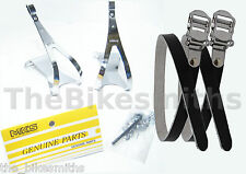 MKS STEEL XL Toe Clips & BLACK Leather Straps Urban Track Road Bike Pedals X-Lrg