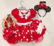 NWT Disney Store Red Minnie Mouse 4 4T Costume Dress Ears Headband Gloves Shoes