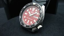 Vintage Seiko divers watch 6309 Auto DAY Date Mod RED DIAL BLACK BEZEL K15.