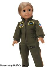 "Military Green Airforce Flight Costume Jumpsuit Fits 18"" American Girl Boy Doll"