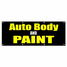 AUTO BODY AND PAINT CAR BODY SHOP REPAIR Sign Banner 4' x 2' w/ 4 Grommets