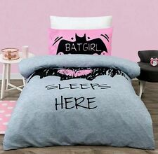 BATGIRL SLEEPS HERE PINK SINGLE / US TWIN  bed QUILT DOONA DUVET COVER SET NEW
