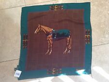 "Ralph Lauren Women $98 NWT Light Silk Equestrian Horse Scarf Green 22"" Square"