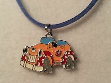 Orange, Red, & Blue Cartoon Car Pendant Suede Cord Necklace w/Lobster Clasp
