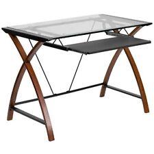 Flash Furniture Glass Computer Desk w/Pull-Out Keyboard NAN-JN-2824S-GG NEW