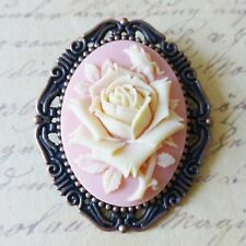 KiTsCh ShAbBy cHiC ViCtOrIaN ViNtAgE COPPER PINK PEACH CREAM ROSE CAMEO BROOCH