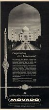 1960 Movado Womens Platinum and Diamond Taj Mahal PRINT AD