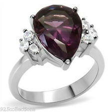 316 Stainless Steel 14x10mm February Amethyst Synthetic Glass Stone Ring Size 5