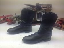 DISTRERSSED LARRY MAHAN USA BLACK OSTRICH LEATHER ENGINEER DANCE BOSS BOOTS 6.5B