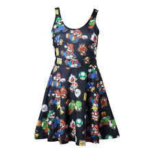 NINTENDO Super Mario Bros. Female Characters & Icons Sleeveless Dress, Large, Bl