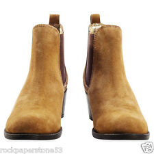 Redfoot Ladies Suede Chestnut Heeled Chelsea Slip On Boots UK 8/Euro 42 RRP £90