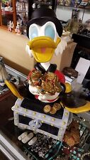 Walt Disney Figurine Donald Duck Scrooge Mcduck on Treasure Chest Coins 19""