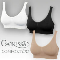 Ladies Caressa Seamless Comfort Sports Bra 3 pack or Singles White Black Nude