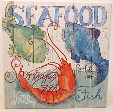Seafood Nautical Cafe Bistro - Chic Vintage Shabby Picture Plaque Home Sign