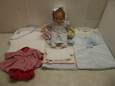 1ST AMERICAN GIRL BITTY BABY DOLL BLONDE EYELASHES TOWEL BLANKET EASTER BUNNY ++