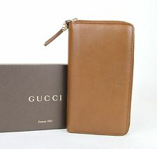 New Authentic GUCCI BREE Leather Zip Around Clutch Wallet Brown 323397 2535