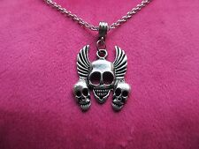 Gothic Winged Skull & 2 smaller Skull Necklace Ideal for Halloween Party or Gift