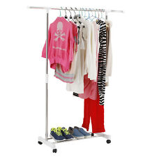 HEAVY DUTY Single ADJUSTABLE PORTABLE CLOTHES HANGER ROLLING GARMENT RACK RAIL T