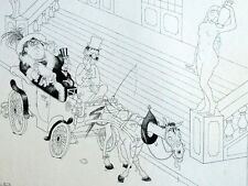 Cochet et Vieux Cheval Calèche Guerre Humour Caricature Albert Dubout 1944