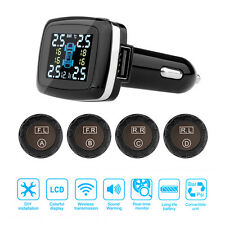 Car TPMS Tyre Tire Pressure Monitoring System Wireless 4 Sensors w/ LCD Display