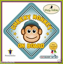 CHEEKY MONKEY SAFETY CAR SIGN (BOY) NON PERSONALISED CHILD BABY ON BOARD