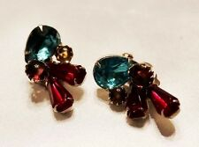 Vintage Gripoix Rhinestone JULIANA Designer Couture Runway Fruit Salad Earrings