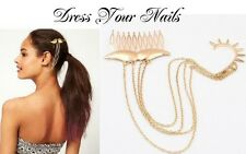 Mustache Hair Comb + chain - Ear Cuff Spike Gold colour Accessory Punk Bridal-uk