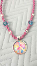 Glass Peace Sign Pendant Hemp Necklace Pink Hippie Boho Handmade Surfer