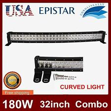 32INCH 180W LED CURVED LIGHT BAR FLOOD SPOT DRIVING LAMP 4WD SUV OFFROAD 33/34''