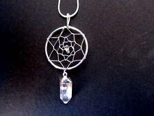 Quartz Point Dreamcatcher Drop Necklace B001.03 Silverplate Snake Chain 22 inch