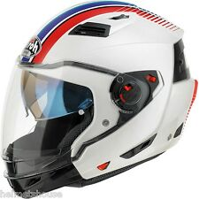 CASCO MODULARE AIROH EXECUTIVE STRIPES WHITE GLOSS FLIP UP HELMET COD.EXS38 / L