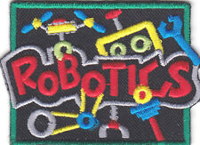 """ROBOTICS"" PATCH - IRON ON EMBROIDERED APPLIQUE - LEARNING -  SCHOOL - RESEARCH"