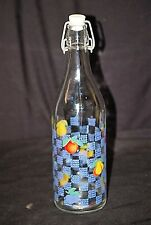 Vintage Style Bottle w Blue Dots Fruit Theme Wire Bail Stopper Swing Top Italy