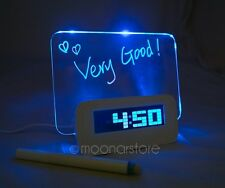 Romantico LED luminoso Fluorescent Messaggio Board Digital Alarm Orologio Luce