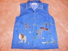Lemon Grass Ladies Size Small Denim Animal Embroidered Top