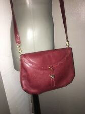 Gucci Vintage Burgundy Leather Crossbody Bag Italy Maroon Red