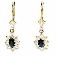 14K Yellow Gold Sapphire September Birthstone Flower Leverback Earrings ER-L43-9