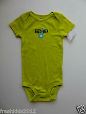 """Carter's Baby Boy Lime """"Mommy's Lil Rock Star"""" Bodysuit size 24 Months NWT B5413"""