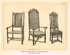 Art Furniture c1880 CARVED WALNUT CHAIRS - XVIII CENT Antique Duotone Lithogprah