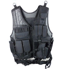 Tactical Vest Black for Hunting Police, SWAT with pistol / gun holster Pouches
