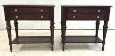 Pair Of Ethan Allen Wood & Cane End Tables Lot 2039