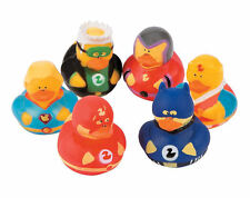 6 Super Hero RUBBER DUCKS duckies CRIME FIGHTERS BIRTHDAY FAVORS CAKE TOPPERS