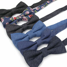 Lot 6 Packs Men's Bow Tie Classic Adjustable Denim Cotton Bowtie Solid butterfly