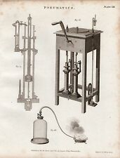 1802 GEORGIAN PRINT ~ PNEUMATICS VARIOUS EQUIPMENT EXPERIMENTS